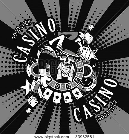 vector emblem azarntny player, the spirit of good luck in the background poboedy attributes and good luck in the casino win black and white