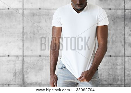 Cropped Isolated Portrait Of Athlete African American Male Model Wearing Jeans And White Blank T-shi