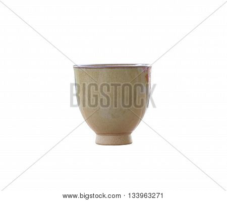 old jar earthenware of japanese style (japanese sake bottle) isolated on white background and have clipping paths.