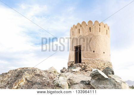 Al Badiyah lookout tower in Emirate Fujairah of United Arab Emirates.