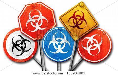 Bio hazard sign on a grunge background, 3D rendering, street sig