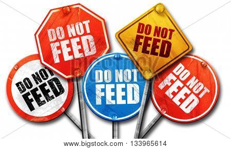 do not feed, 3D rendering, street signs