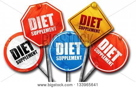 diet supplement, 3D rendering, street signs, 3D rendering, stree