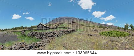 Etna Park Galvarina highland and refuge pan view, Sicily