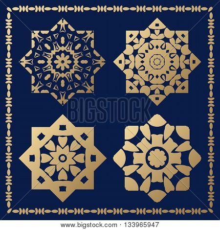 Set of orthogonal gold decorative elements. Arabesque for design.