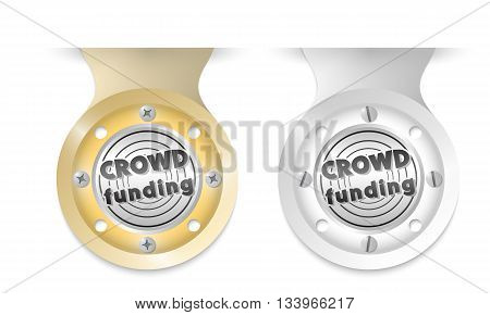 Golden and silver object and icon of crowd funding