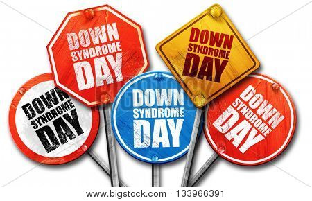 down syndrome day, 3D rendering, street signs