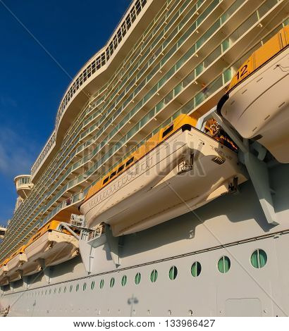 Barselona, Spaine - September, 6 2015: The cruise ship Allure of the Seas, The Royal Caribbean International. Exterior views of the ship