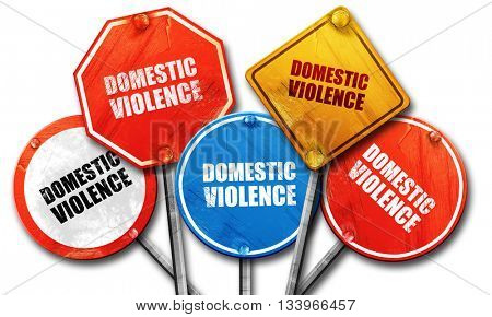 domestic violence, 3D rendering, street signs