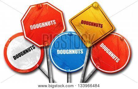 doughnuts, 3D rendering, street signs