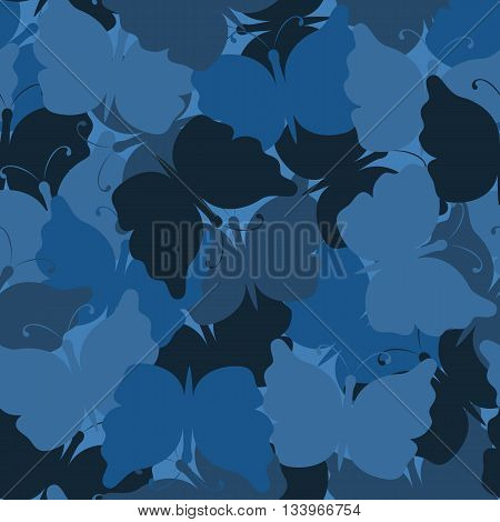 Butterfly camouflage seamless vector pattern. Nature seamless background. Marine camo. Vector illustration. Can be used for cards, invitations, fabrics, wallpapers, wrapping design, scrap-booking