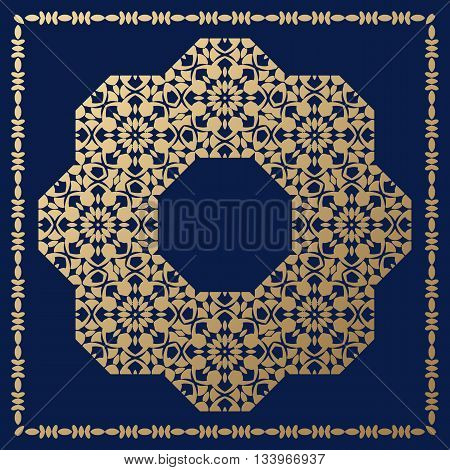 Round decorative element for design with a golden hue. Orthogonal border.