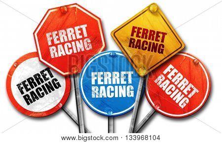 ferret racing, 3D rendering, street signs