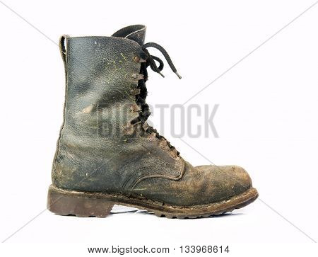 old black combat boots on white background