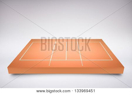 Drawing of sports field against orange background