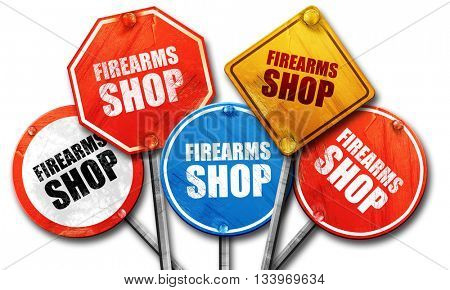 firearms shop, 3D rendering, street signs
