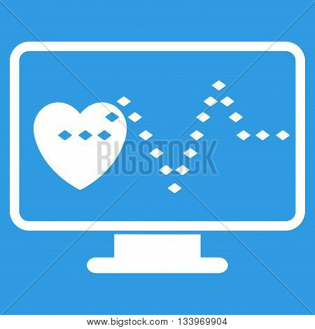 Cardio Monitoring vector toolbar icon. Style is flat icon symbol, white color, blue background, rhombus dots.