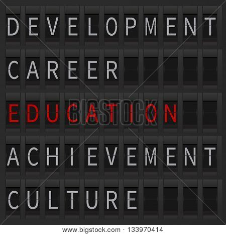 Education concept as a departure goal. Education word displayed at airport style board. Education and career, development and culture.