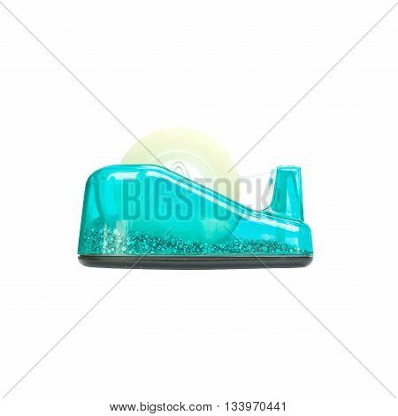 Closeup blue adhesive tape cutter office Equipment isolated on white background with clipping path