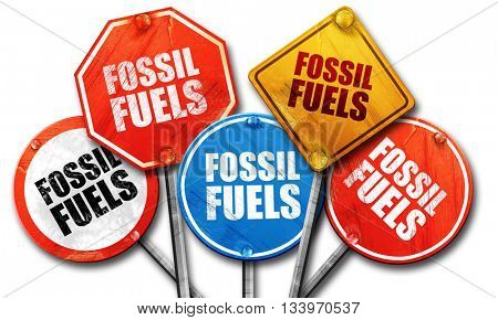 fossil fuels, 3D rendering, street signs