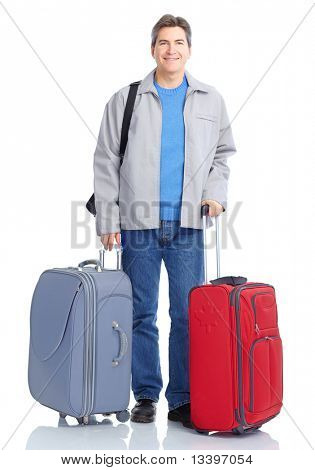 Happy handsome tourist man . Isolated over white background
