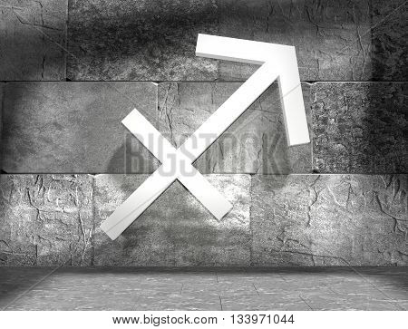 Archer astrology sign. Empty concrete interior. 3D rendering