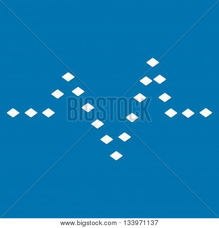 Dotted Pulse vector toolbar icon. Style is flat icon symbol, white color, blue background, rhombus dots.