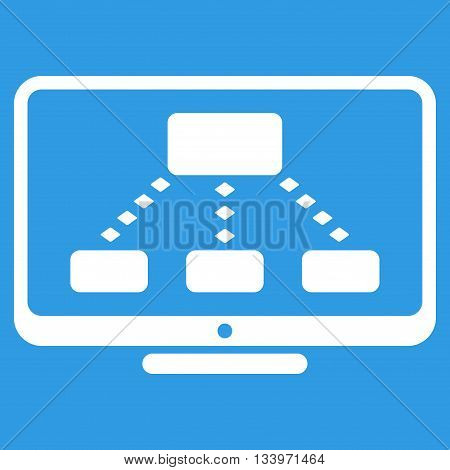 Hierarchy Monitoring vector toolbar icon. Style is flat icon symbol, white color, blue background, rhombus dots.