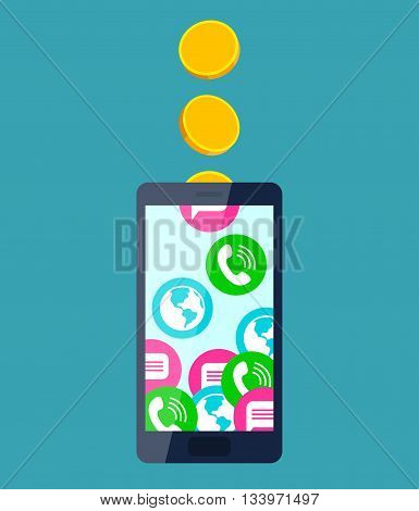 Gold coins fall into mobile phone turning into calls, sms and internet access. Mobile communication and service payment