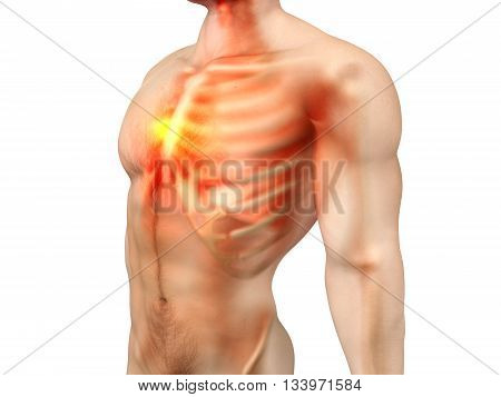 Pain in the Chest or the heart. 3D rendered illustration.