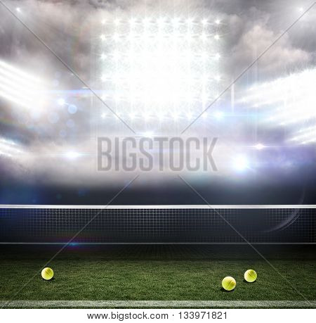 Composite image of a tennis net against sports pitch
