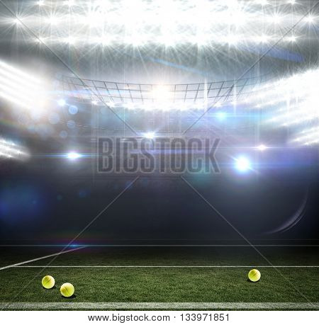 Digitally generated image of field against american football arena