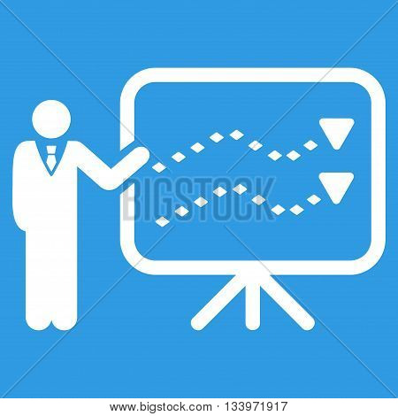 Trends Presentation vector toolbar icon. Style is flat icon symbol, white color, blue background, rhombus dots.