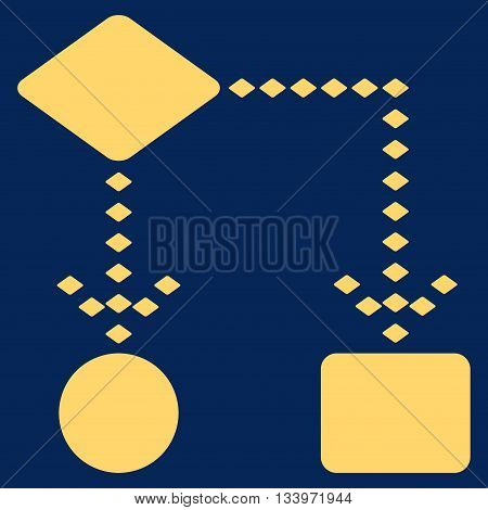 Algorithm Scheme vector toolbar icon. Style is flat icon symbol, yellow color, blue background, rhombus dots.