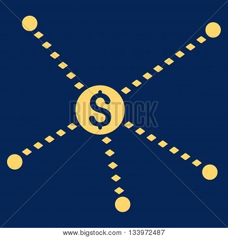 Dotted Financial Links vector toolbar icon. Style is flat icon symbol, yellow color, blue background, rhombus dots.