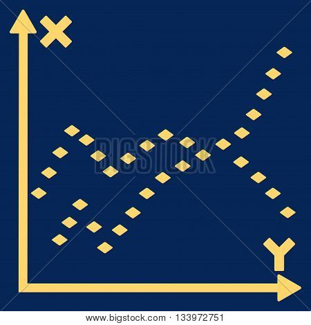 Dotted Functions Plot vector toolbar icon. Style is flat icon symbol, yellow color, blue background, rhombus dots.