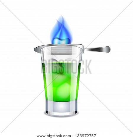 Absinthe isolated on white photo-realistic vector illustration