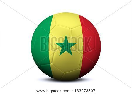 Image of a soccer ball with national flag of Senegal isolated on white background