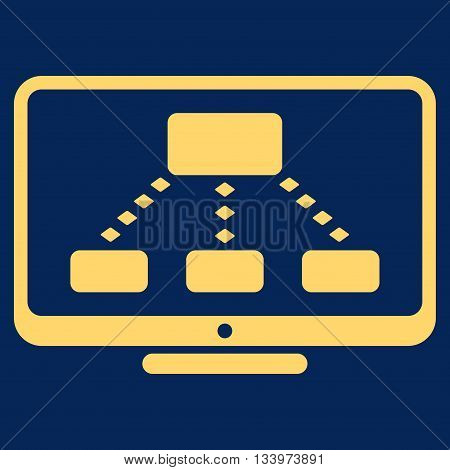 Hierarchy Monitoring vector toolbar icon. Style is flat icon symbol, yellow color, blue background, rhombus dots.