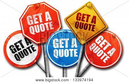 get a quote, 3D rendering, street signs