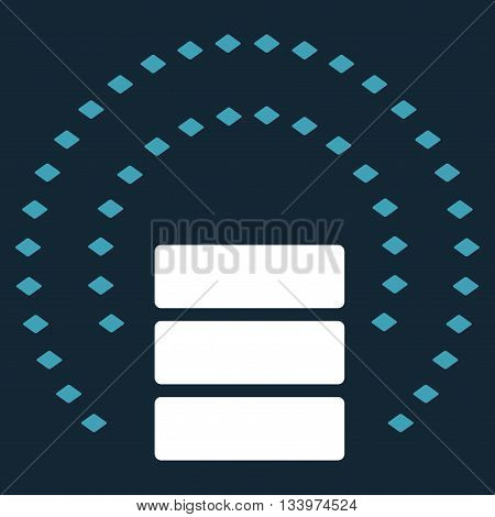 Database Sphere Shield vector toolbar icon. Style is bicolor flat icon symbol, blue and white colors, dark blue background, rhombus dots.