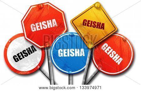 geisha, 3D rendering, street signs