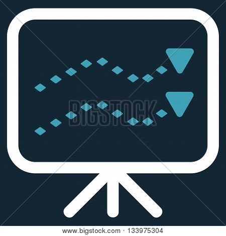 Dotted Trends Board vector toolbar icon. Style is bicolor flat icon symbol, blue and white colors, dark blue background, rhombus dots.