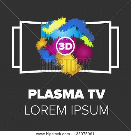 Plasma TV icon. Monitor icon with black background