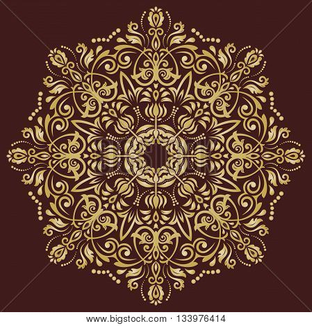 Elegant vector ornament in the style of barogue. Abstract traditional pattern with oriental elements. brown and golden pattern