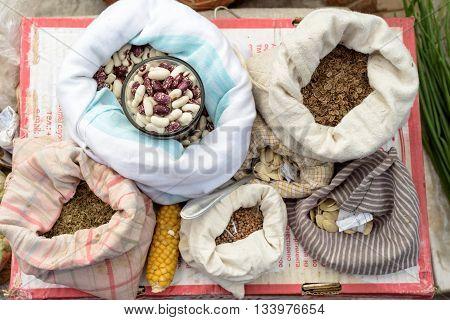 Selection Of Vegetable Seeds In Muslin Bags