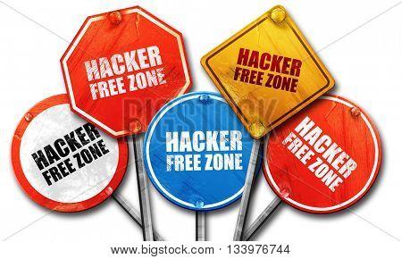 hacker free zone, 3D rendering, street signs