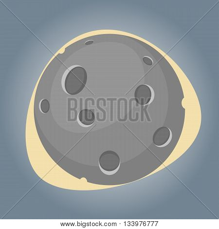 Moon colorful icon. Vector illustration in cartoon style