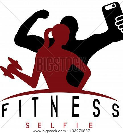 Man Of Fitness Silhouette Character Make Selfie Vector Design Template