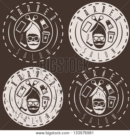Hipster Style Vector Labels Of Barber Salon